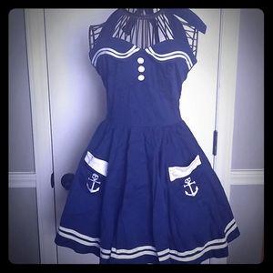 Hell Bunny Vixen Nautical Sailor Pinup Dress